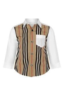 Baby Boys White/Beige Icon Stripe Cotton Shirt