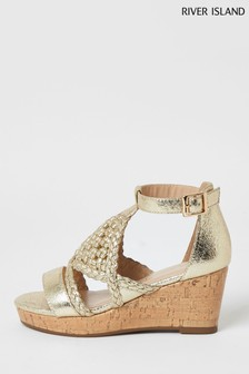 River Island Gold Metallic Woven Wedges