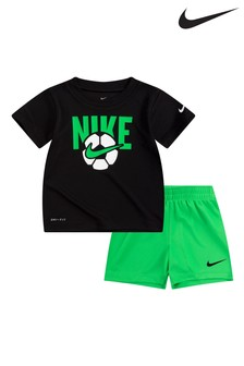 Nike Infant Black/Green Football T-Shirt And Shorts Set