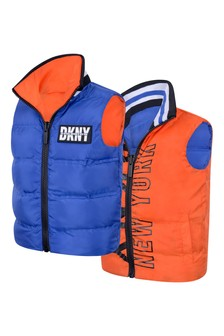 Boys Orange/Blue Reversible Gilet