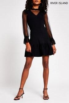 River Island Black Lace Hybrid Dress