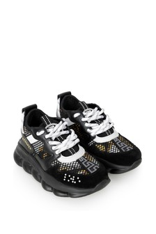Boys Black, White & Gold Trainers