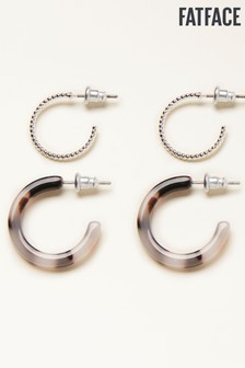 FatFace Silver Metal And Resin Hoop Earrings Two Pack