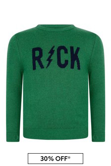 Boys Green Wool & Cashmere Knitted Sweater