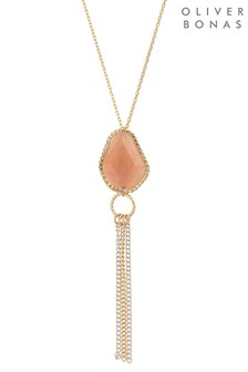 Oliver Bonas Mauro Facet Stone & Chain Tassel Necklace
