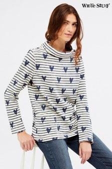 White Stuff Blue Sally Heart Stripe Jersey Top