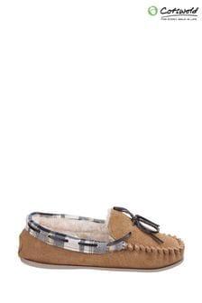 Cotswold Tan Kilkenny Slip-On Moccasin Slippers