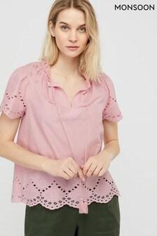 Monsoon Pink Suzi Shiffly Organic Cotton Boho Top
