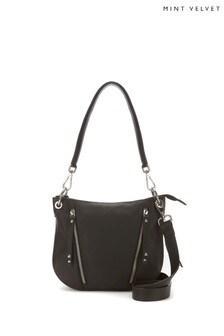 Mint Velvet Claire Black Leather Cross Body Bag