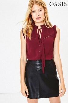 Oasis Red Sleeveless Pintuck Shirt
