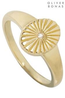 Oliver Bonas Aziza Machine Engraved Oval Signet Ring