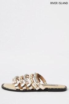 River Island Rose Gold Embellished Shell Sandals
