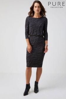 Pure Collection Animal Jersey Slim Blouson Dress