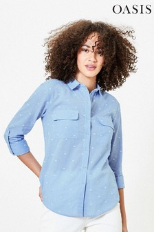 Oasis Blue Embroidered Heart Shirt