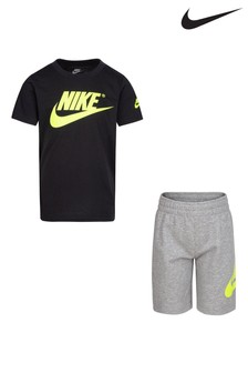 Nike Little Kids Grey/Black T-Shirt And Shorts Set