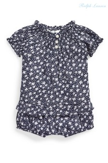 Ralph Lauren Navy Floral T-Shirt And Bloomers Set