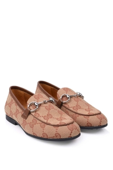 GUCCI Kids Beige Canvas GG Jordaan Loafers