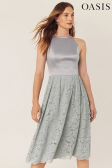 Oasis Grey Evie Lace Midi Dress