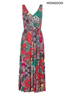 Monsoon Pink Carolyn Scarf Print Midi Dress