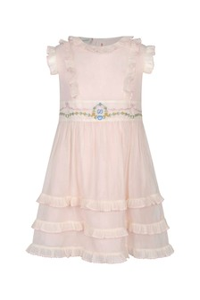 Girls Pale Pink Silk Organza Dress