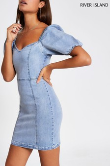 River Island Blue Light Fitted Puff Sleeve Dress