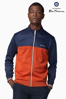 Ben Sherman Navy Zip Colour Block Track Top