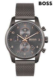 BOSS Skymaster Grey IP Mesh Strap Watch