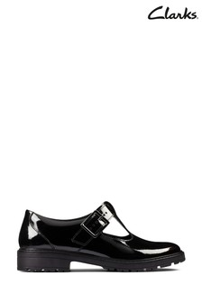 Clarks Black Patent Loxham Shine Youths Shoes