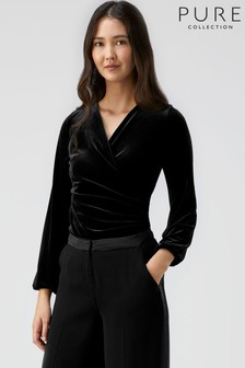 Pure Collection Black Jersey Gathered Cuff Wrap Top