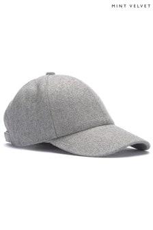 Mint Velvet Silver Grey Baseball Cap