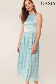 Oasis Green Evie Lace Midi Dress