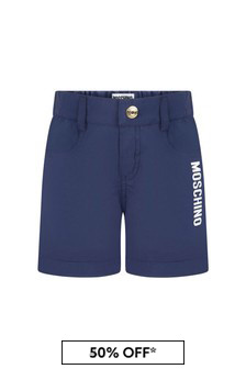 Moschino Kids Baby Boys Navy Cotton Unisex Shorts