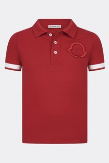 Moncler Enfant Boys Red Polo Top