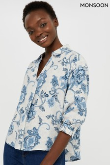 Monsoon Ladies Natural Esther Printed 100% Linen Blouse