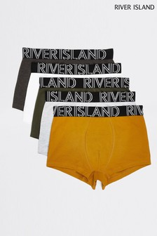 River Island Mustard Classic Hipster Underwear Five Pack