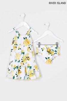 River Island White Rose Print Swim Dress With Briefs