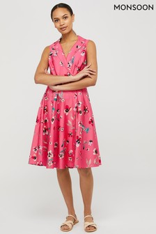 Monsoon Pink Maisy Floral Print Organic Cotton Dress
