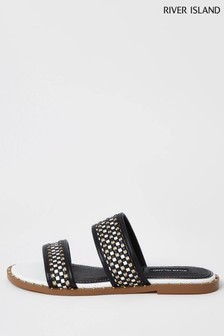 River Island White Mono Chain Mule Sandals