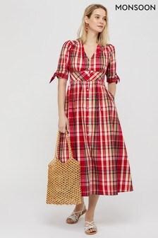 Monsoon Red Nila Check Organic Cotton Midi Dress