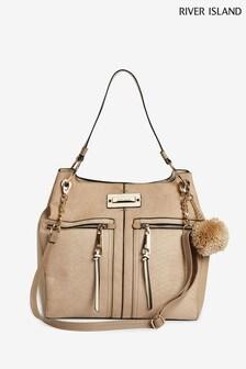 River Island Beige Zip Side Slouch Bag