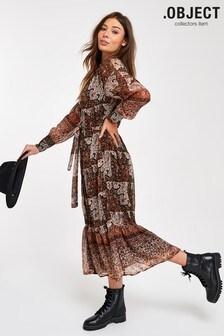 OBJECT Multi Paisley Wrap Long Dress