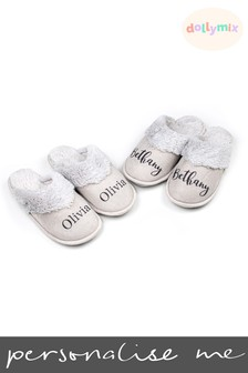 Personalised Faux Fur Slippers by Dollymix