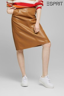 Esprit PU Midi Skirt