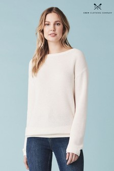 Crew Clothing Cream Honeycombe Jumper