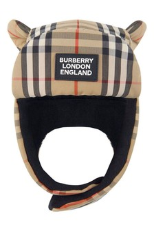 Kids Beige Vintage Check Hat