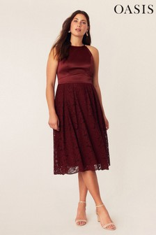 Oasis Red Evie Lace Midi Dress