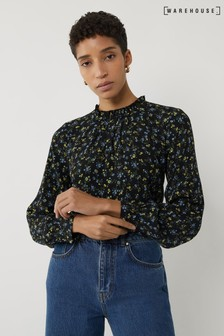 Warehouse Black Ditsy Floral Ruffle Neck Top
