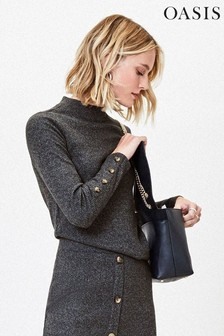 Oasis Grey Ribbed Knit Cosy Top