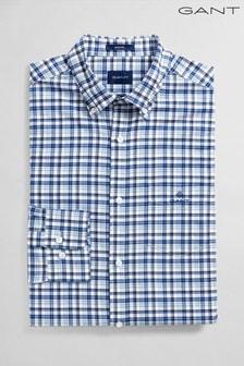 GANT Blue Oxford Micro Madras Regular Shirt