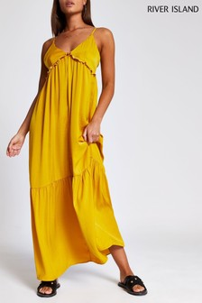 River Island Yellow Tiered Cami Maxi Dress
